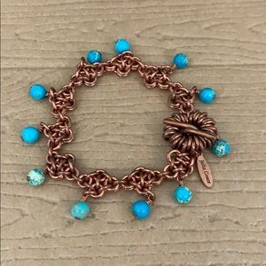 Cooper Bracelet with Blue Circle Beads